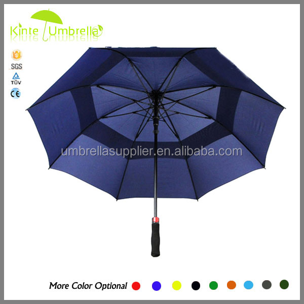 Double Canopy Golf Umbrella With Windproof Hole, Stormproof Golf Umbrella With Air Vents Hole