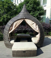 Hand made wicker temple daybed wicker furniture garden sofa bed