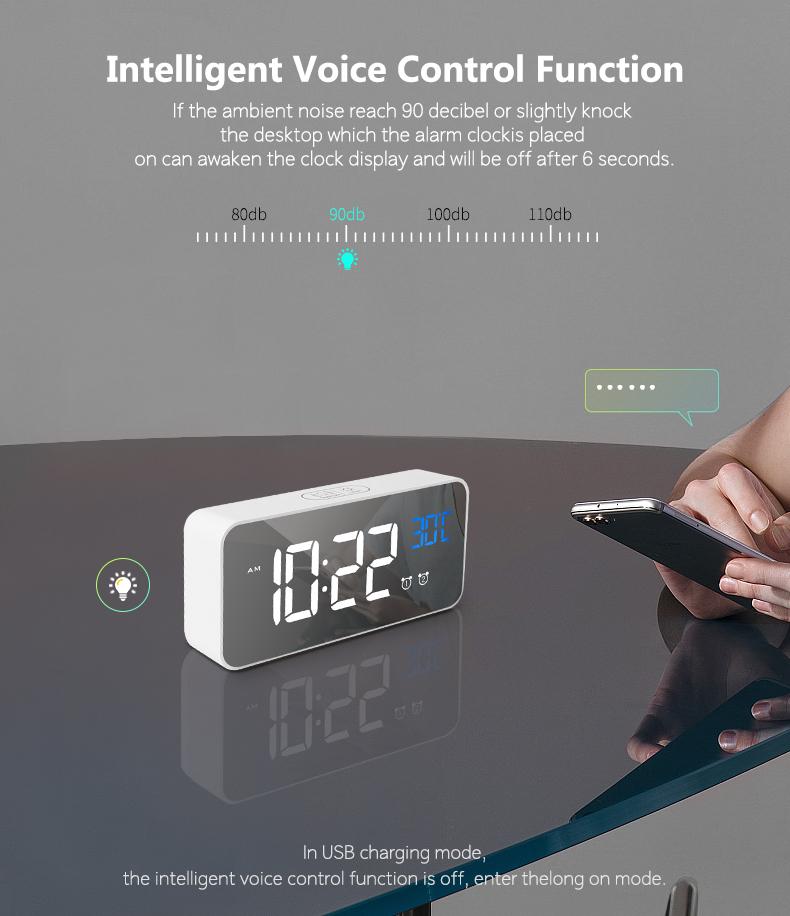 Maunfature กระจกดิจิตอลนาฬิกาปลุก LED Night Lights เครื่องวัดอุณหภูมิอิเล็กทรอนิกส์พร้อมฟังก์ชั่น Snooze