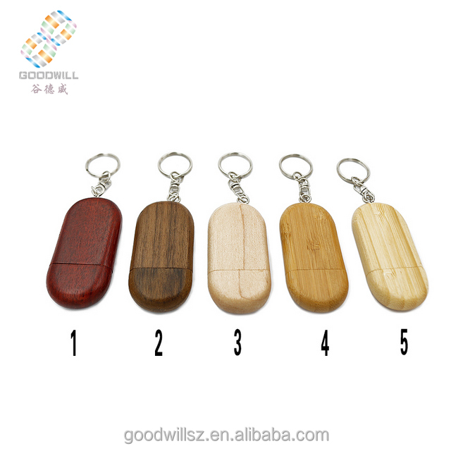 Oval shaped with chain wooden USB flash drive custom logo