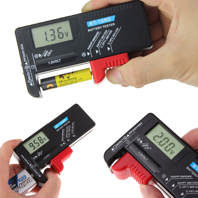 BT168D Digital Battery Capacity Tester LCD for 9V 1.5V AA Cell C D Batteries
