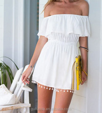 2017 Summer popular sexy off shoulder casual women white dress