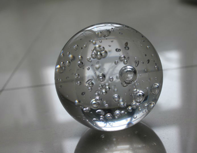 Large Solid Bubble Clear Rotating Water Fountain Glass