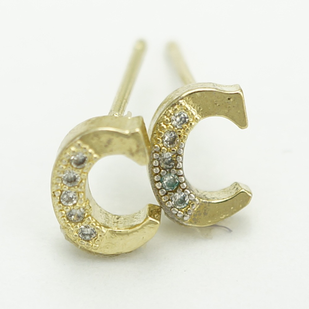 Alphabet Letter Initial Stud Earrings 18k Gold Plated Hot Sale