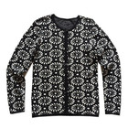 Fancy jacquard knit self fabric cloth covered button ladies cardigan sweater