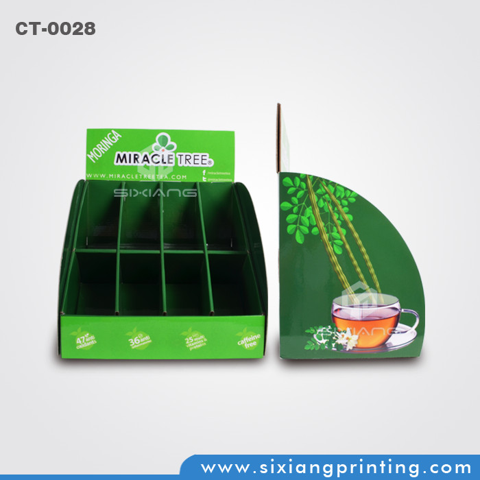 design and printing POS corrugated retail tiered table display paper boxes and display stand for tea