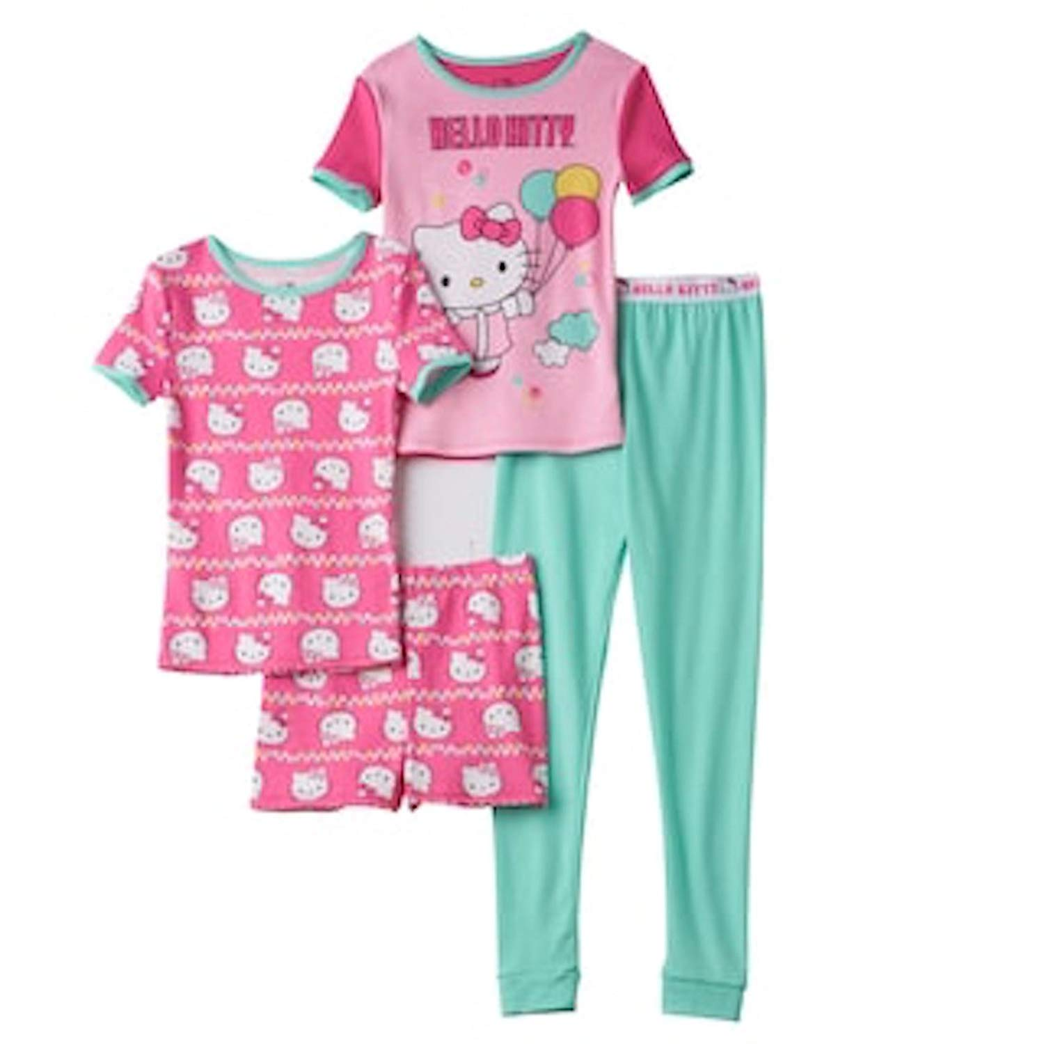 af5a19c17 Get Quotations · Hello Kitty Little Girl Short Sleeve Pajama 4 Piece Set  Size 4 Pink Multi