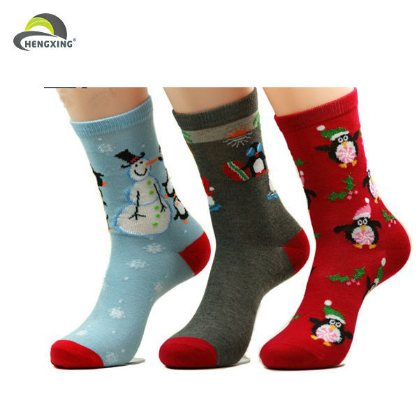 Wholesale Stock Cheap Funny Jacquard Promotional Warm Christmas Socks