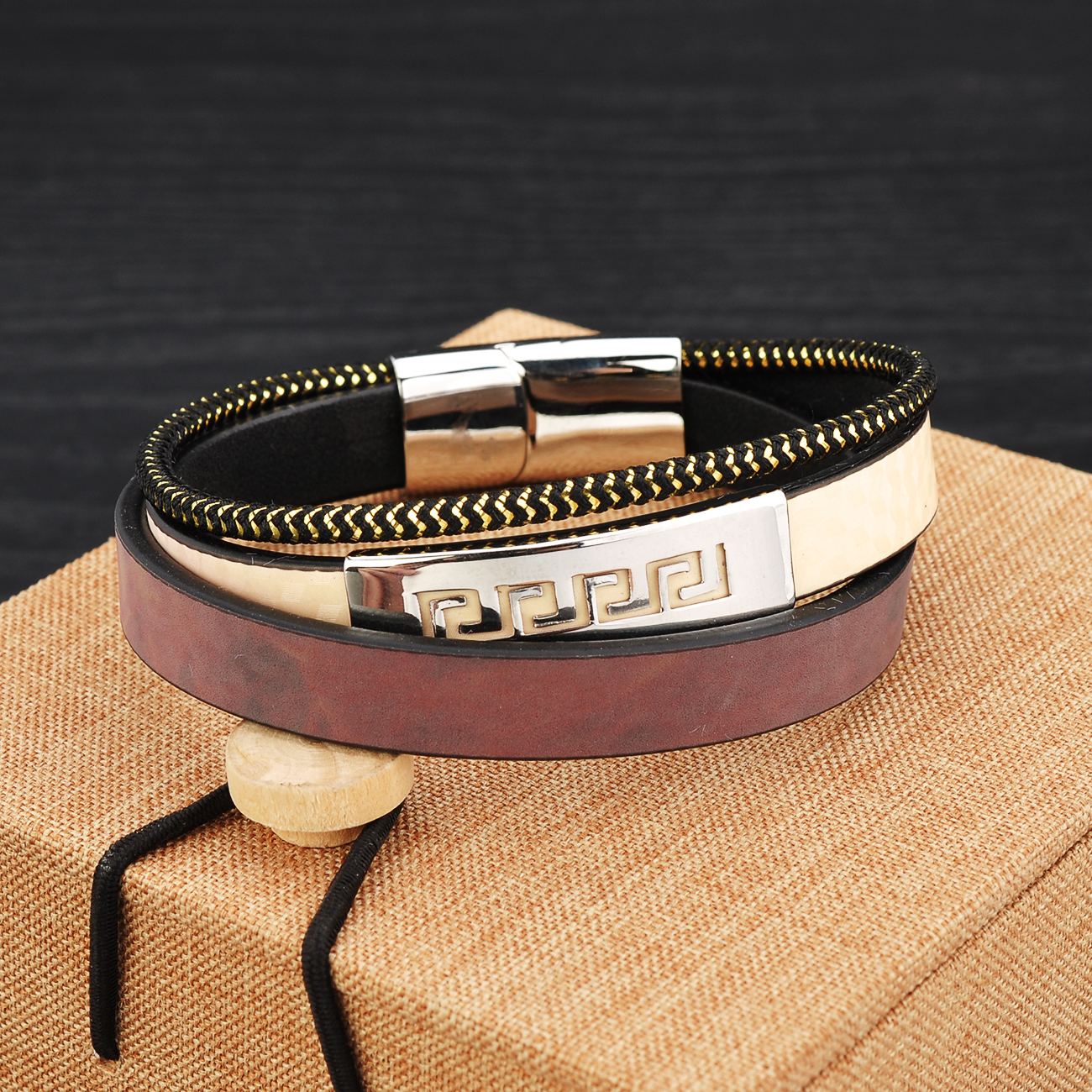Custom Men Hand Stainless Steel Wrap Multilayer Leather 2019 Trendy Bracelets
