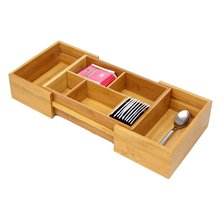 Small Expandable Adjustable Drawer Inserts Organiser,Bamboo Cutlery Flatware Tray