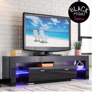 High Gloss Black TV Stand Unit Cabinet Console Furniture w/LED