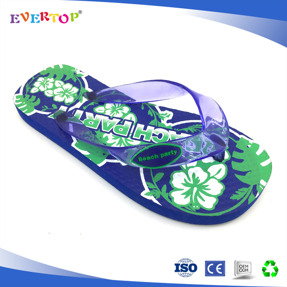 New arrival royal blue printed pe sole kids personalized flip flop