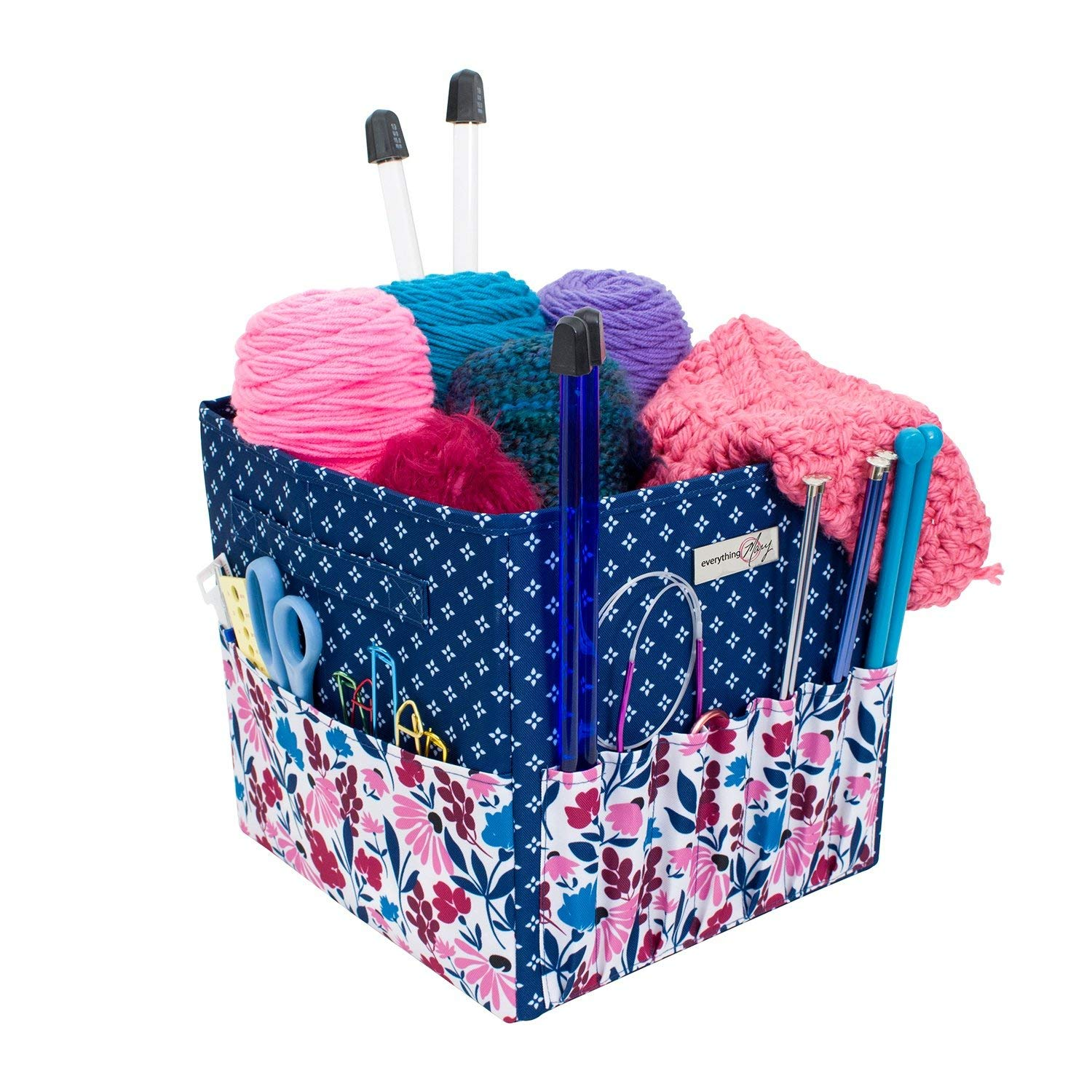 Everything Mary Deluxe Yarn Carry Project Caddy Organizer Storage Tote Floral