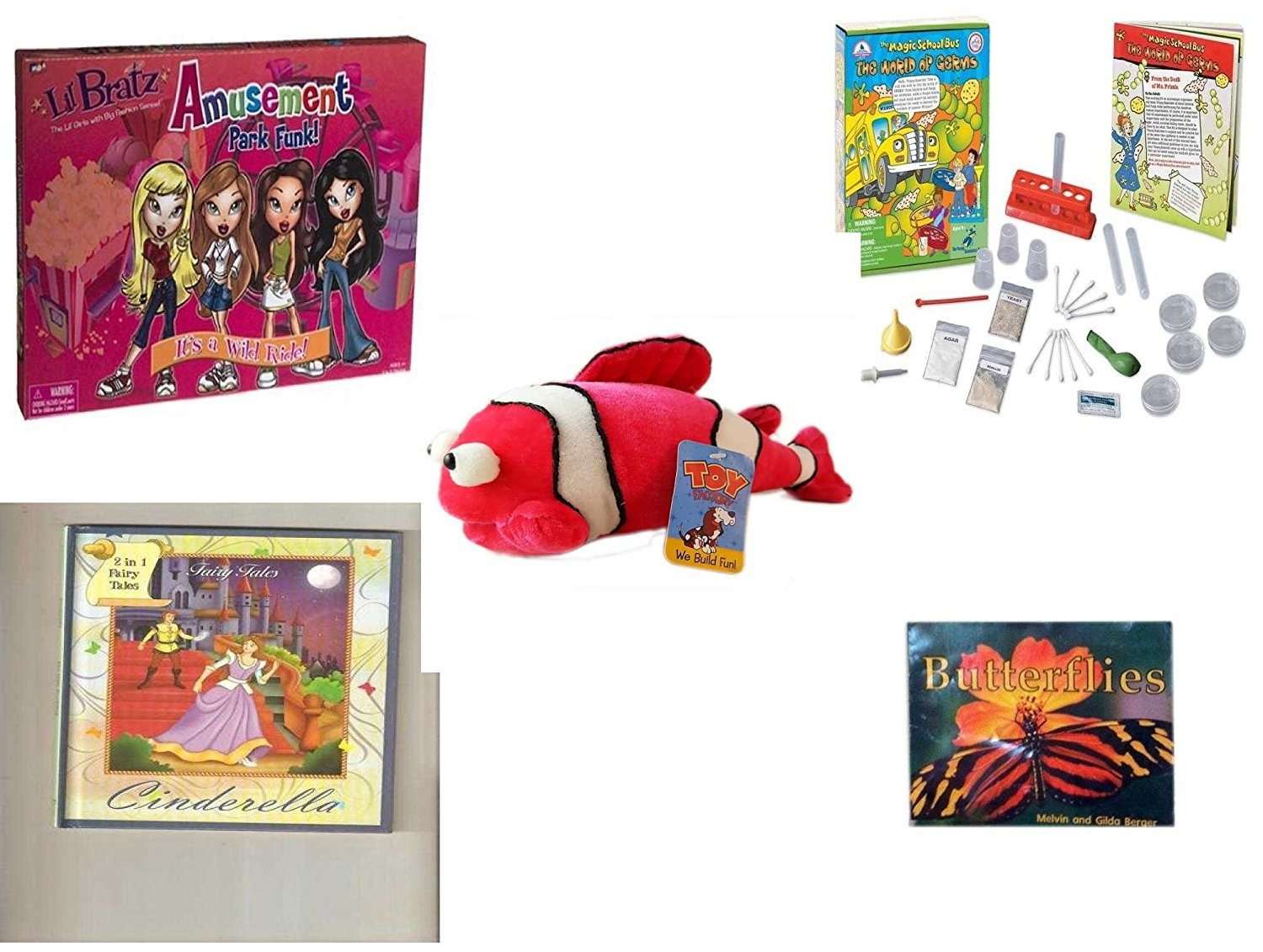 Children's Gift Bundle - Ages 3-5 [5 Piece] - Lil Bratz Game Amusement Park Funk. - The Magic School Bus: The World of Germs Toy - Toy Factory Coral Reef Fish Pink White Plush - 2 in 1 Fairy Tales: