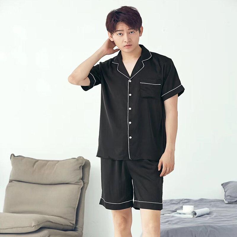 Men's Sleep & Lounge Plus Size Summer Short-sleeved Shorts Plaid Pajama Suit European Mens Cotton Mens Pyjama Sexy Sleepwear Men Pijamas Big Size Profit Small