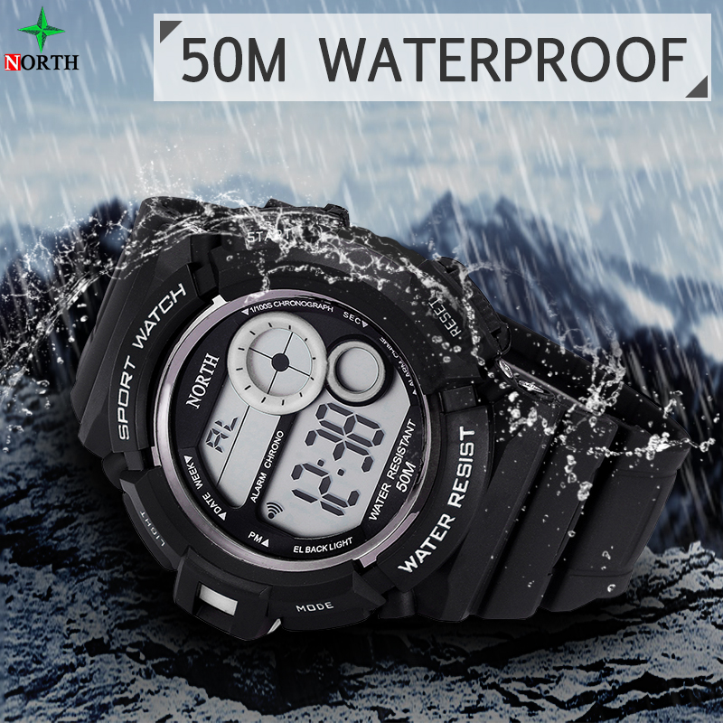 Wholesale NORTH Brand 2017 New Arrival Silicone Case Multi Function Led Digital Outdoor Sport Watch