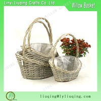 wholesale unique Plastic lined wicker easter holiday gift basket grey