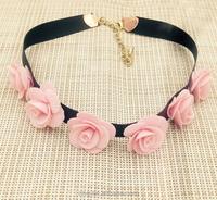 New pink flower shape fabric choker necklace
