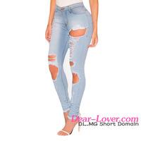 Thailand Light Denim Destroyed Push Up Hem Jeans Women Ladies