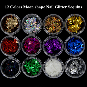 Moon shape Nail Sequins Tips Sheets Manicure Nail Gel Decorations