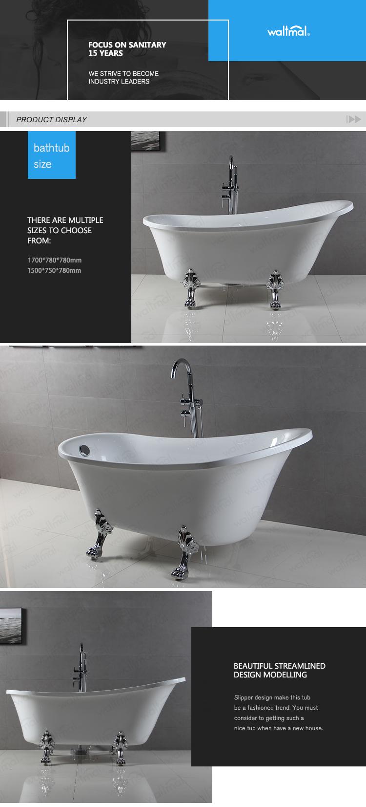 Classical Bathroom Free Standing Acrylic Clawfoot Bath Tub With ...