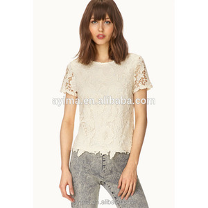 ef1f3f2006190c latest fashion short sleeve plain white lace top lined woman lace top