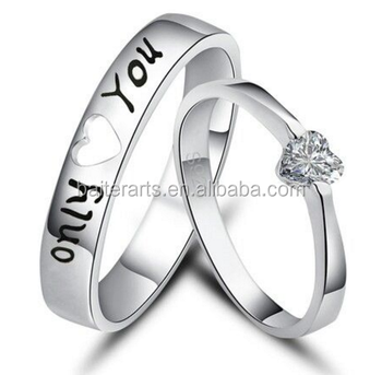 Only Love You Couple Ring 925 Sterling Silver Heart Cut Cz Diamond