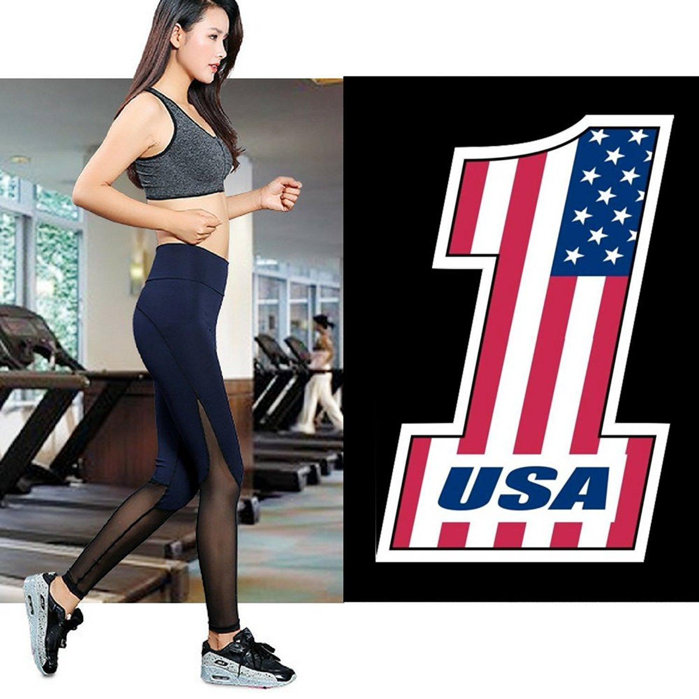 IDM Women Sports Mesh Trouser Gym Workout Fitness Capris Yoga Pant Legging, M Size