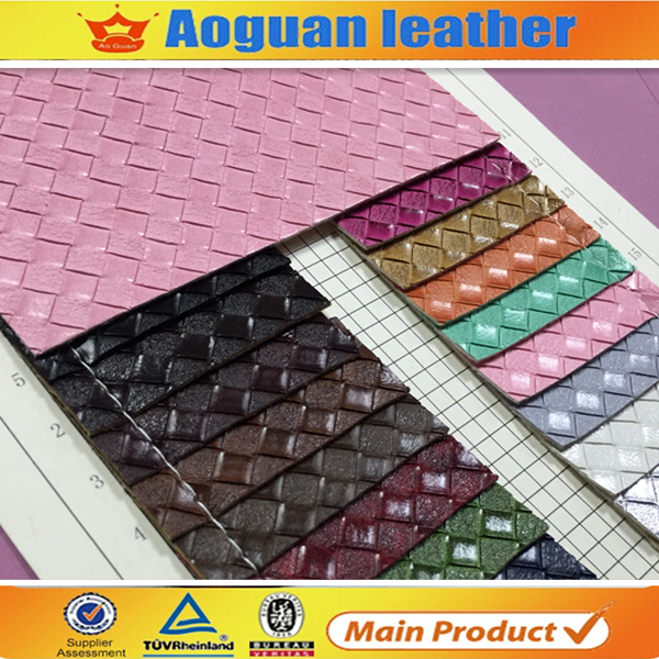 2016 hot sale Nowoven backing technics pu synthetic leather weave pattern for ldy sandals material FW147