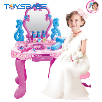 Baby Girl Toys Mini Makeup Table Musical Kids Dresser