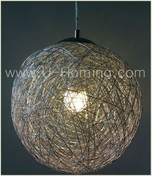 Modern Round Aluminum Wire Ball Pendant Lighting Hotel Decorative ...