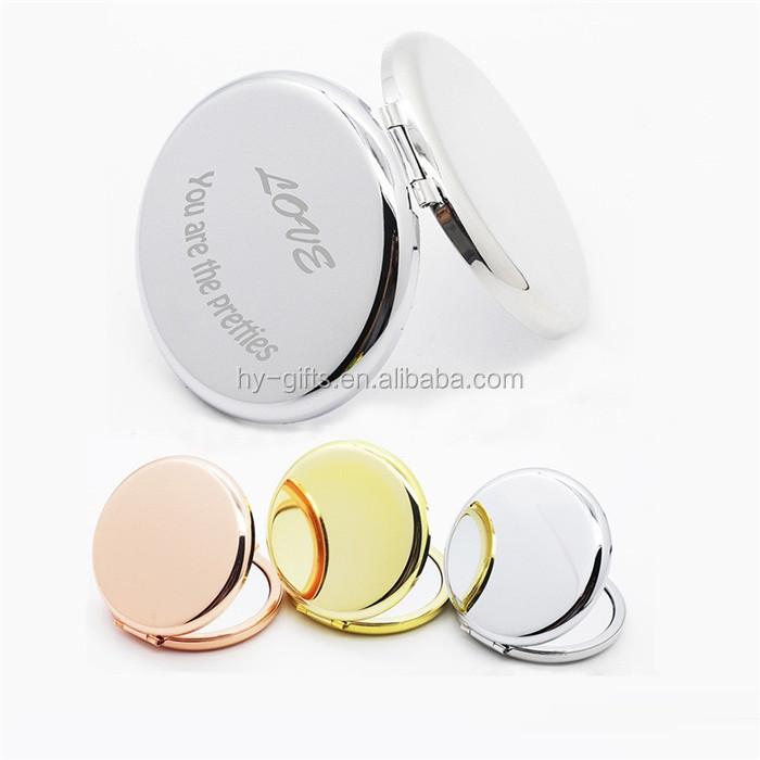 custom logo laser engrave round shape pocket mirror mini compact mirror, Customized color