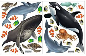 Create-A-Mural : Ocean Wall Stickers ~Under Water Sea Wall Decals (29) Peel & Stick for Kids Room Walls