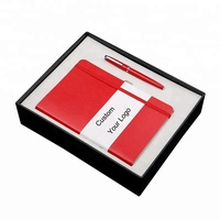 Custom logo PU leather notebook and pen gift set