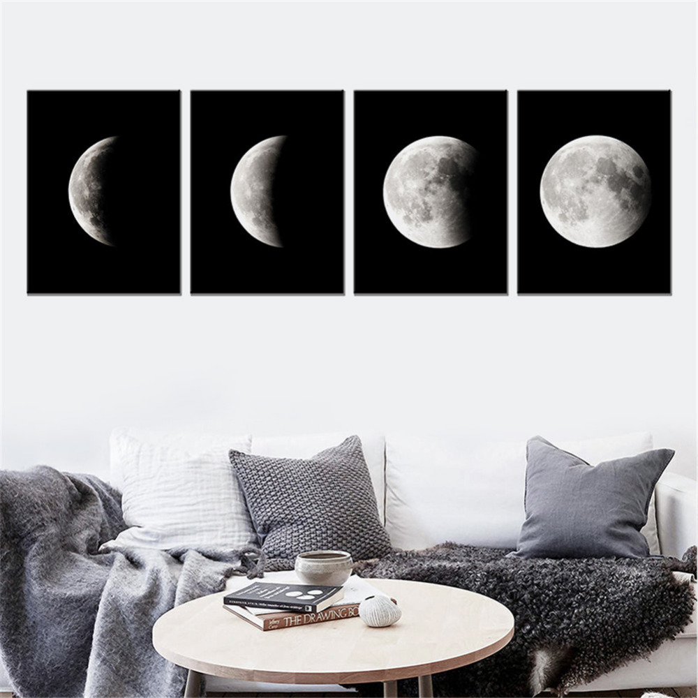 Minimalist Moon Phase Canvas Painting Black White Art Poster Graphic Wall Picture For Living Room Home Decor Mural Frameless Buy Painting Pictures