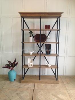 Vintage Industrial Metal Bookshelf Antique Living Room Display Cabinet