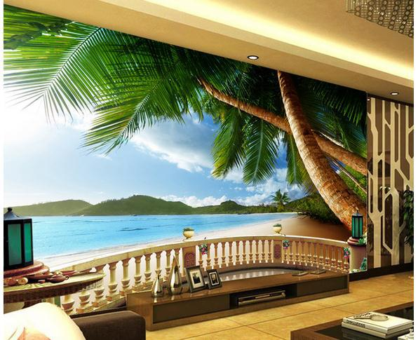 3d Large Wall Mural Wallpaper Hd Balcony Window Beach Sea: Wall Sticker Summer Beach Palm Balcony Scene Wallpaper
