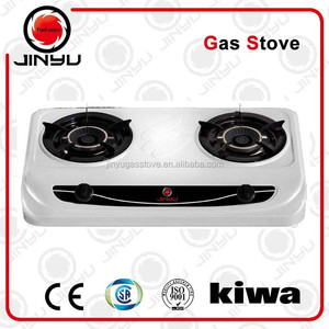 JY-637 gas cooker cold rolled sheet cookertop with shining white surface 2 burner