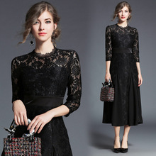 Elegant Women Autumn Long Sleeve V-Neck Lace Party Dress Female Casual