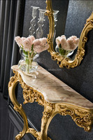 Retro Vintage European Baroque Carving Golden Console Table with White Marble Top and Mirror BF11-07303a