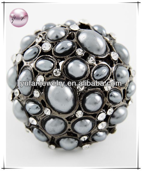 Black Nickel Tone Hematite Synthetic Pearl Stretch Ring