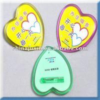 heart shape tin button badge