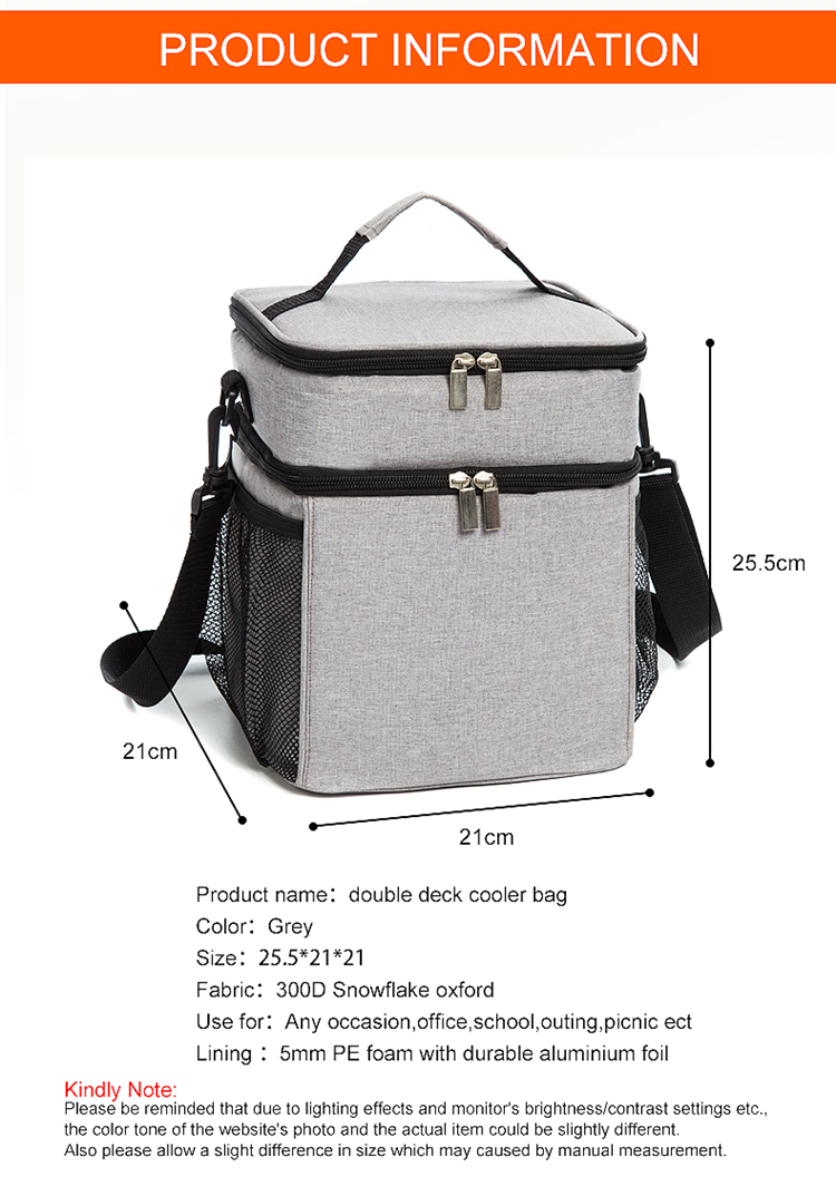 Osgoodway1 China supplier Deluxe Dual Compartment Insulated Thermal Lunch Cooler Bag  For BBQ  School Travel Outdoor