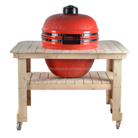 TOPQ outdoor Wood Table for Oval kamado Grill with 4 Wheels