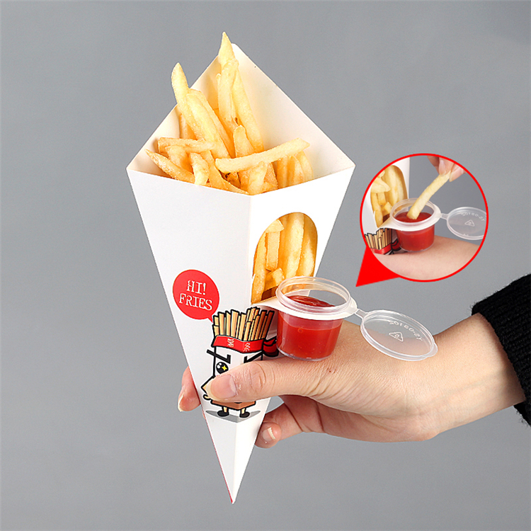 Foldable chip paper cone with sauce tray