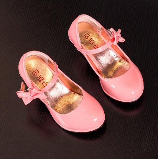 kids shoes girls shoes fashion pu leather high heeled shoes girls beautiful bow knot girls dress