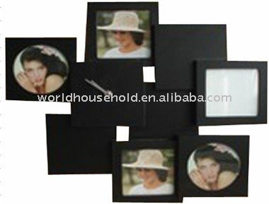 new concept design wooden photo frame with a clock