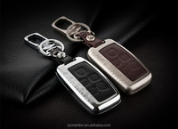 New Products Metal Leather Remote Holder Cover Fob Car Key Case for Range Rover with package leather cover smart car key case