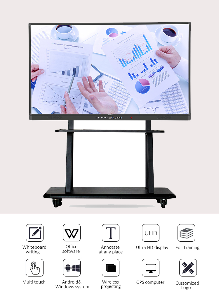 86 inch Touchscreen All-In-One PC Whiteboard voor Slimme Klas Oplossingen