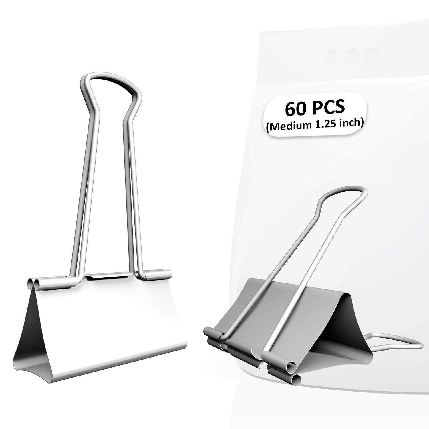 Nctinystore Binder Clips Medium Metal Clamp - 1-1/4 in (1.25 inch) (Silver, Medium, 60 Count)